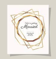 Wedding invitation in gold frame design vector