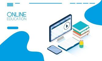 Online education and e-learning banner with computer vector