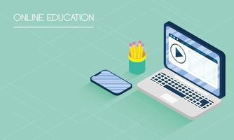 banner de educación en línea y e-learning con laptop vector