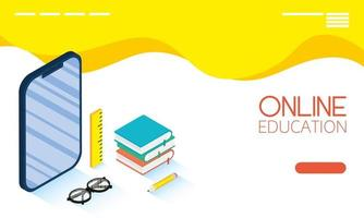 Online education and e-learning banner with smartphone vector