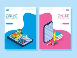 Online education and e-learning banner set with smartphone
