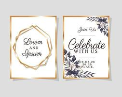 Two wedding invitations with gold frames vector