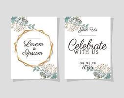 dos invitaciones de boda con marcos dorados vector