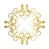 Gold ornament frame with curves design vector