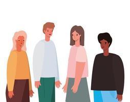 Women and men avatars cartoons design