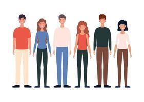 Diseño de dibujos animados de avatares de mujeres y hombres.