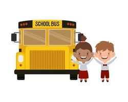 Students with bus in landscape vector