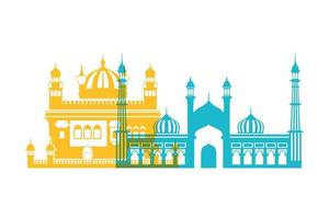 Celebration of independence day and tourist buildings of India vector