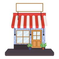 Store with tent and banner for text