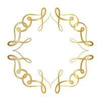 Marco de adorno dorado con diseño de curvas. vector
