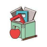 Stack of books with apple fruit icon vector