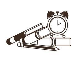libros escolares con reloj despertador