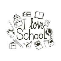 Me encanta la etiqueta de la escuela sobre fondo blanco.