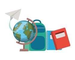 Earth globe with handbag of school vector