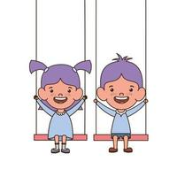 Babies on swings smiling on a white background vector