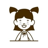 Silhouette of student girl smiling on white background vector
