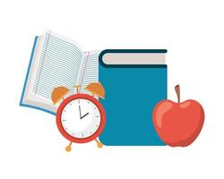 Pila de libros con icono de fruta de manzana vector