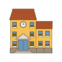 School building of primary isolated icon vector