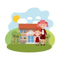 School building of primary with students vector