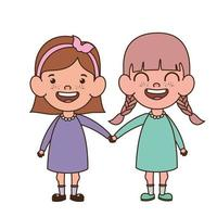 Baby girls standing smiling on white background vector