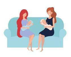 mujer sentada en el sofá con un recién nacido vector
