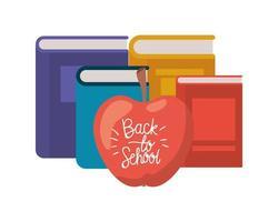 Pila de libros con icono de fruta de manzana