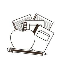 Stack of books with apple fruit