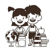 silueta de pareja de estudiantes con útiles escolares vector
