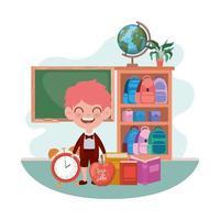 niño estudiante con útiles escolares en el aula