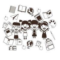 silueta de grupo de estudiantes con útiles escolares vector