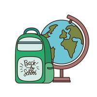 Earth globe with handbag of school vector