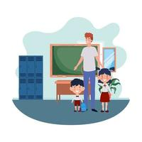 hombre con hijos de regreso a la escuela vector