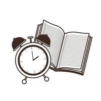 libro escolar con reloj despertador
