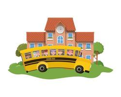 School building of primary with bus in landscape vector