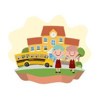 Students girls with school building and bus