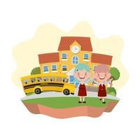 estudiantes niñas con edificio escolar y autobús.