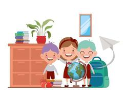 estudiantes con útiles escolares en el aula.