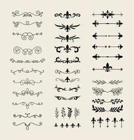 Dividers ornaments line style symbol set vector