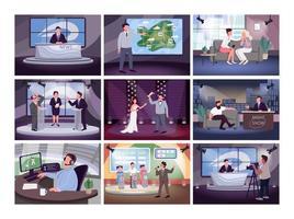 set de programación de televisión vector