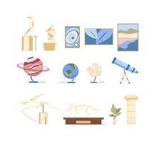 conjunto de exhibiciones del museo vector