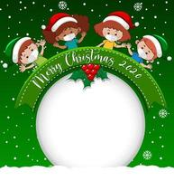 Blank circle banner with Merry Christmas 2020 font logo and kids wear mask on green background vector