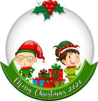 Blank circle banner with Merry Christmas 2020 and cute elf