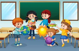 Students in the classroom background vector