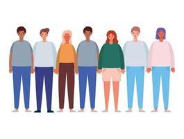 Women and men avatars cartoons design vector