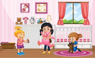 Scene with many kids in the pink room vector