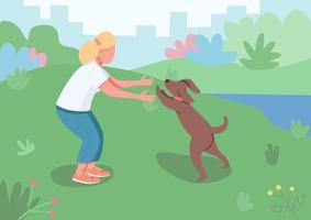 dueño de mascota con perro vector
