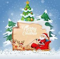 Logotipo de fuente de feliz Navidad en tablero de madera con personaje de dibujos animados de Navidad en escena de nieve vector