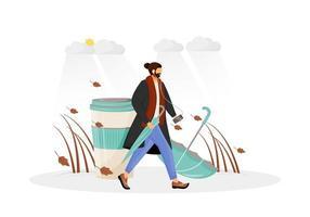 Man in coat going for walk vector