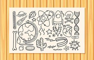 Different doodle strokes about science equipment on a paper