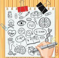 elemento de ciencia médica en estilo doodle o boceto en papel vector